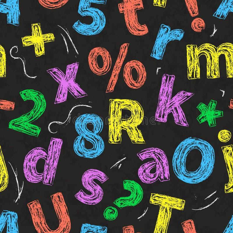 五颜六色的减速火箭的手拉的字母表在与白垩的图画上写字在黑学校黑板,无缝的样式 库存例证