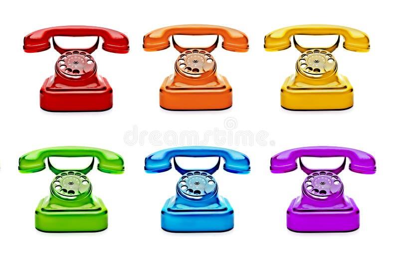 五颜六色的减速火箭的电话 免版税库存图片