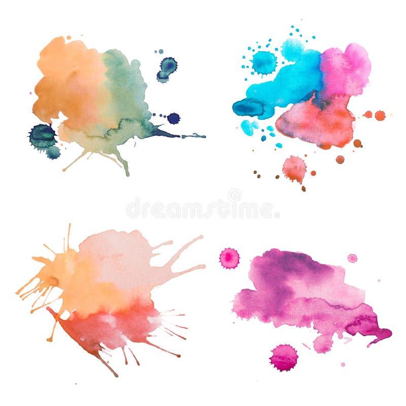 五颜六色的减速火箭的葡萄酒摘要水彩/水彩画艺术手油漆在白色背景 向量例证