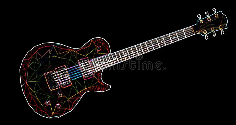 五颜六色的几何吉他由与一个霓虹作用的三角形成了 皇族释放例证