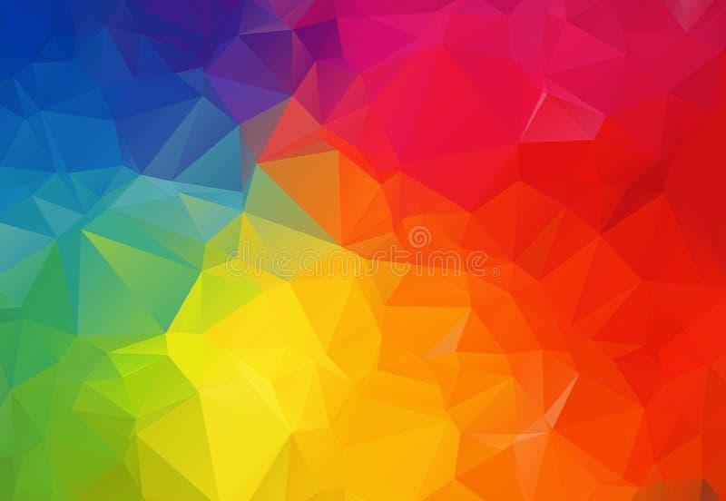 五颜六色的几何弄皱的三角低多origami样式梯度例证图表背景 传染媒介多角形设计为 向量例证