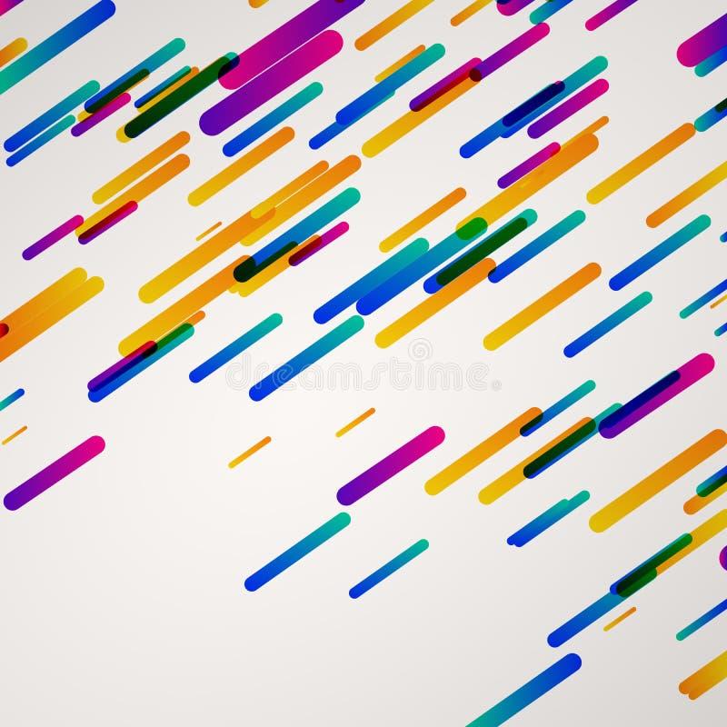 五颜六色的几何形状,对角发怒破折号排行,用管道输送样式 库存例证