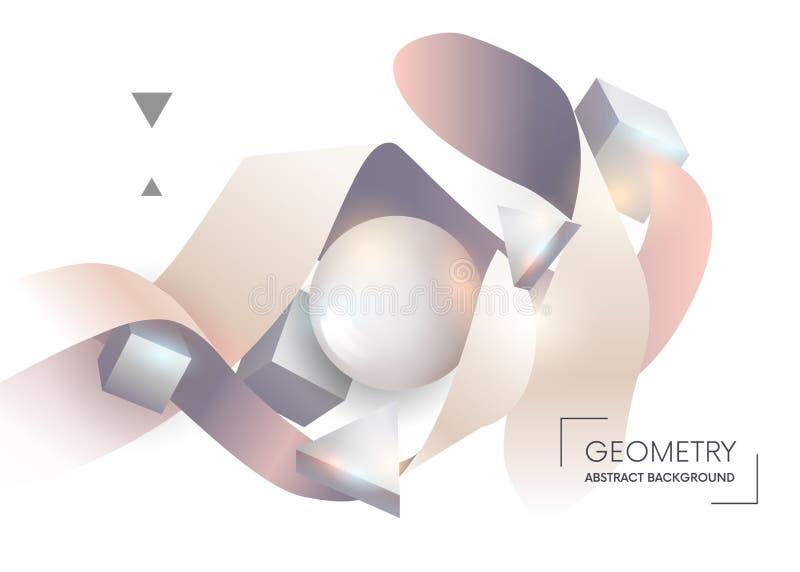 五颜六色的几何抽象构成 构成色的3D几何形状和丝带 您的设计的元素 皇族释放例证