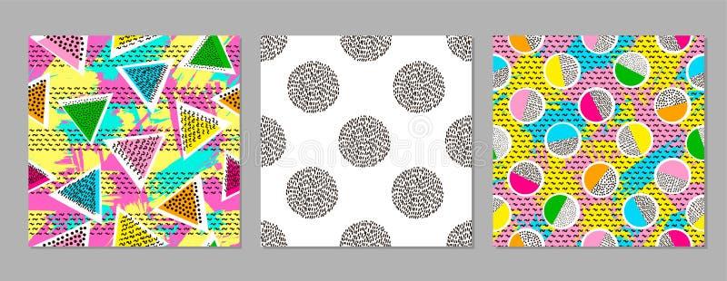 五颜六色的几何无缝的样式 明亮的背景 时髦 库存例证