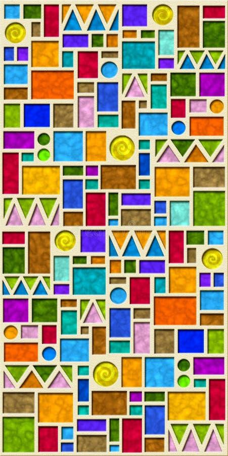 五颜六色的几何模式瓦片 皇族释放例证