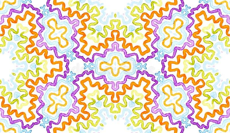 五颜六色的几何水彩 使目炫无缝的样式 手拉的条纹 刷子纹理 Favorab 库存图片