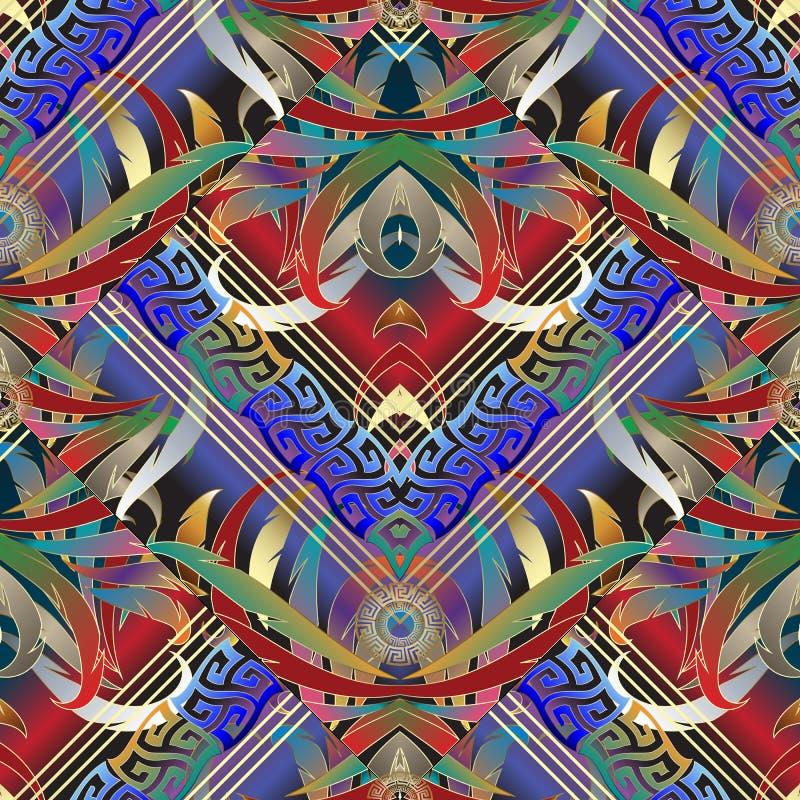 五颜六色的几何花卉希腊钥匙3d无缝的样式 向量 向量例证