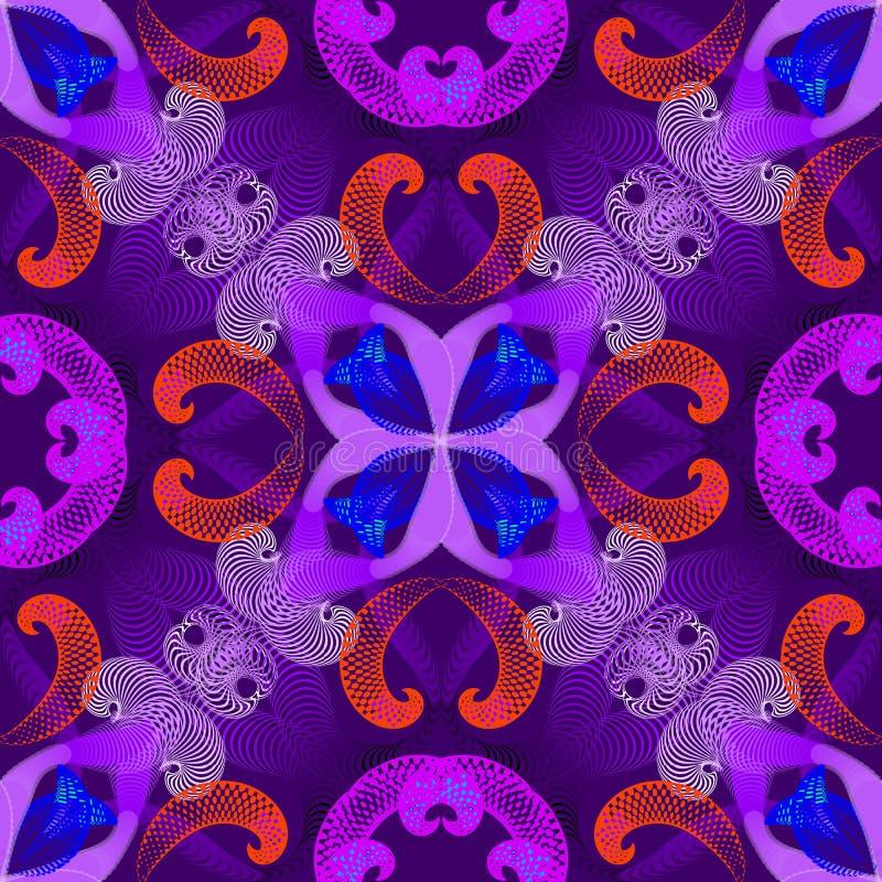 五颜六色的几何螺旋导航无缝的样式 与被阐明的作用的分数维幻想花卉背景 紫色紫罗兰色蓝色 库存例证