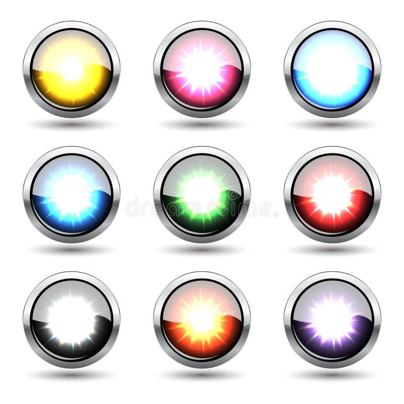 五颜六色的凸面光滑的按钮向量集 库存例证