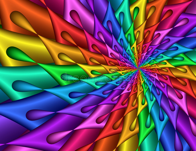 五颜六色的分数维图象螺旋泪珠 向量例证