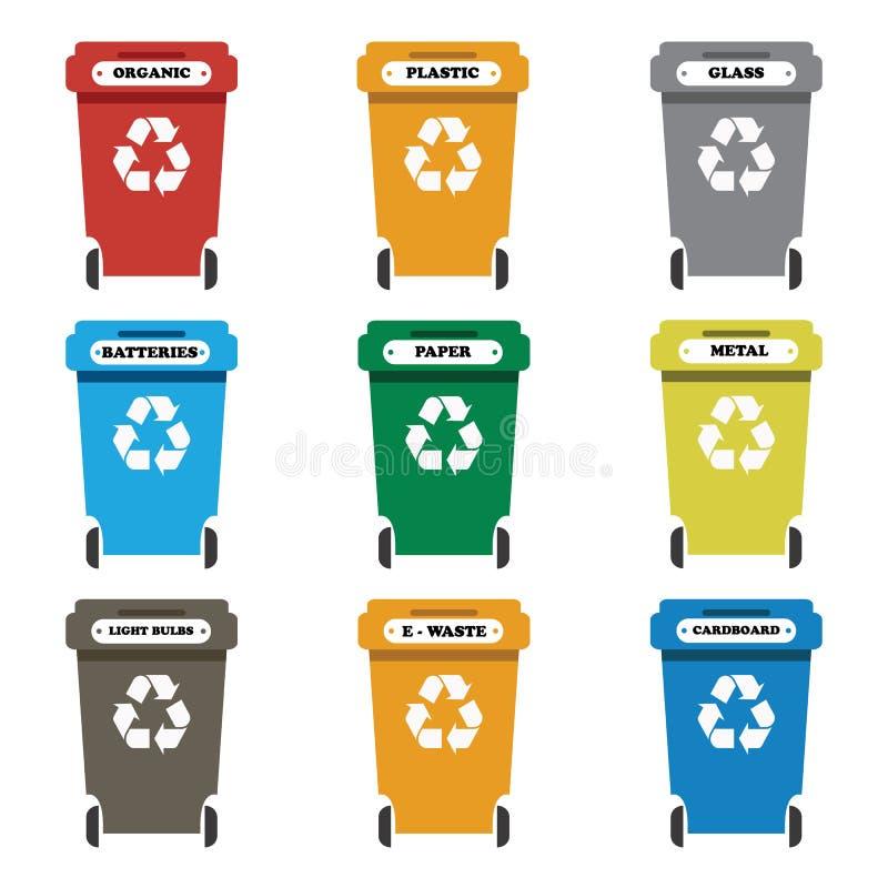 五颜六色的分离的汇集回收站象 有机,电池,金属,塑料,纸,玻璃,废物,电灯泡,铝,食物 库存例证
