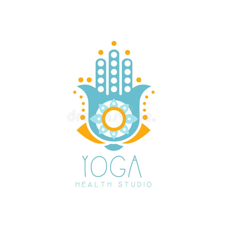 五颜六色的创造性的瑜伽hamsa商标 皇族释放例证