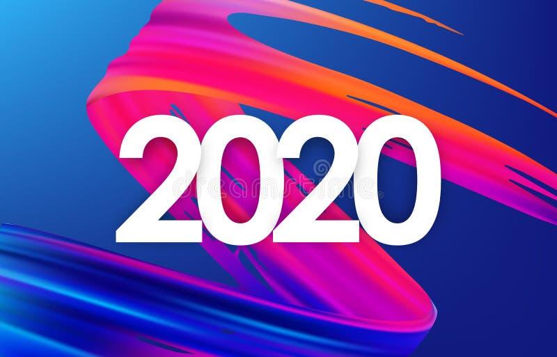 五颜六色的刷子冲程油或丙烯酸漆与在蓝色背景的新年2020年 海报时髦设计 皇族释放例证