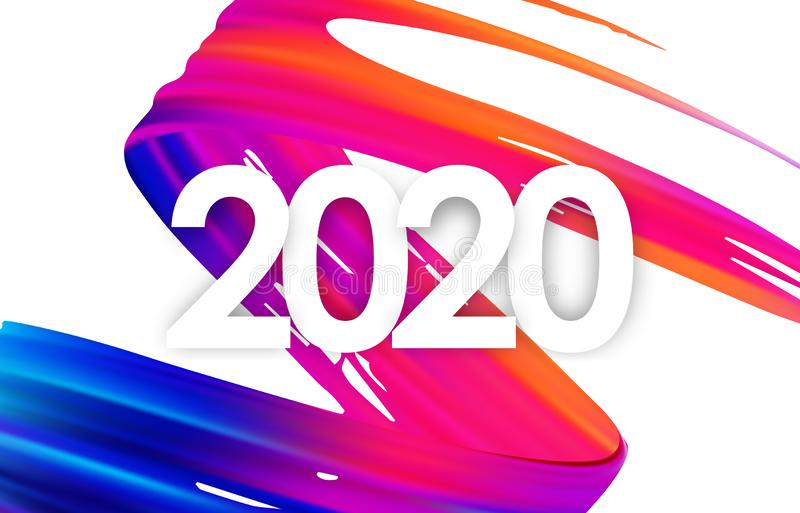 五颜六色的刷子冲程油或丙烯酸漆与新年2020年 海报时髦设计 向量例证