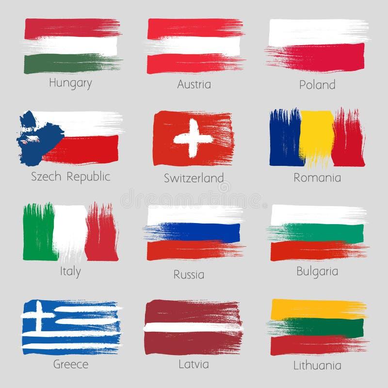 五颜六色的刷子冲程绘了欧洲国家 库存例证
