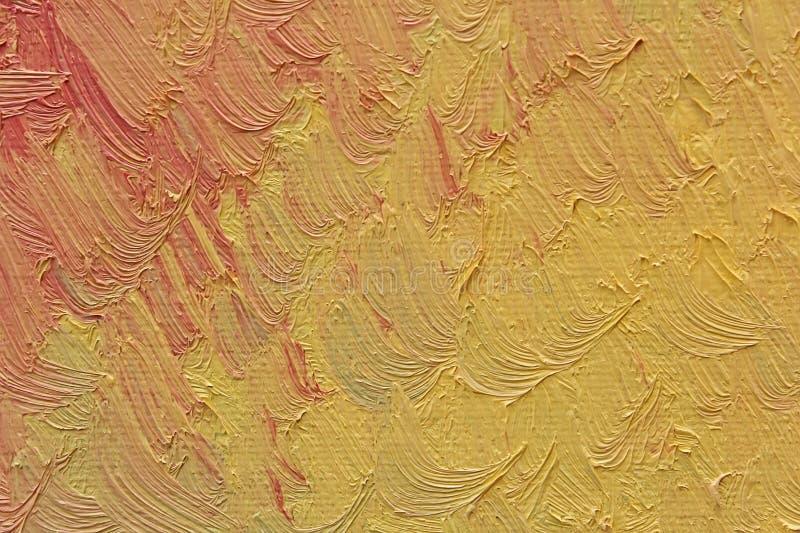 五颜六色的刷子抚摸在帆布的油漆 免版税库存照片