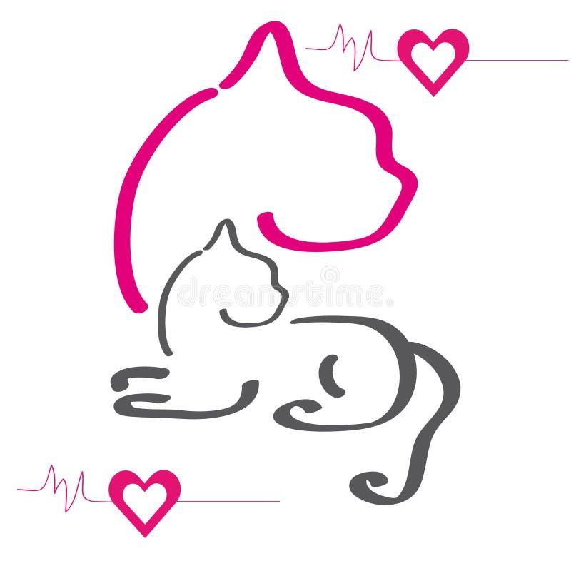 五颜六色的剪影猫 向量例证