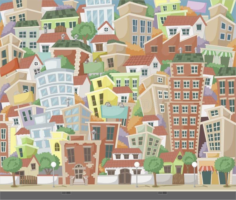 五颜六色的动画片城市 向量例证