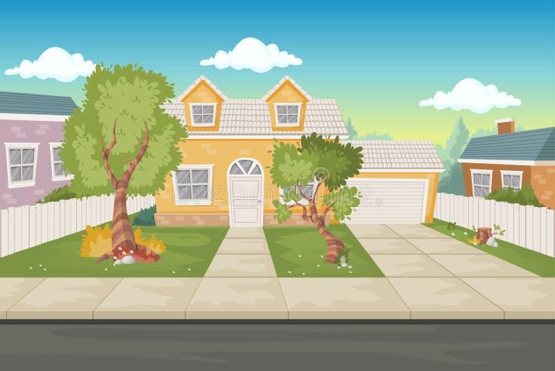 五颜六色的动画片房子 郊区邻里 库存例证