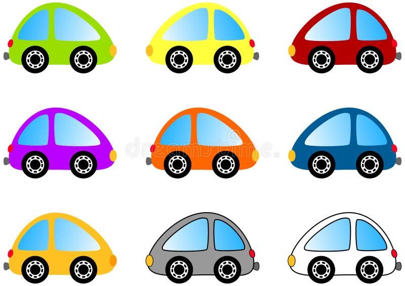 五颜六色的动画片汽车集 向量例证