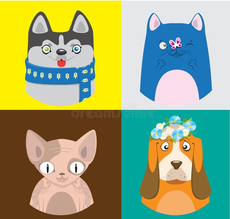 五颜六色的动画片猫和狗收藏 宠物的传染媒介样式在明亮的正方形的 皇族释放例证