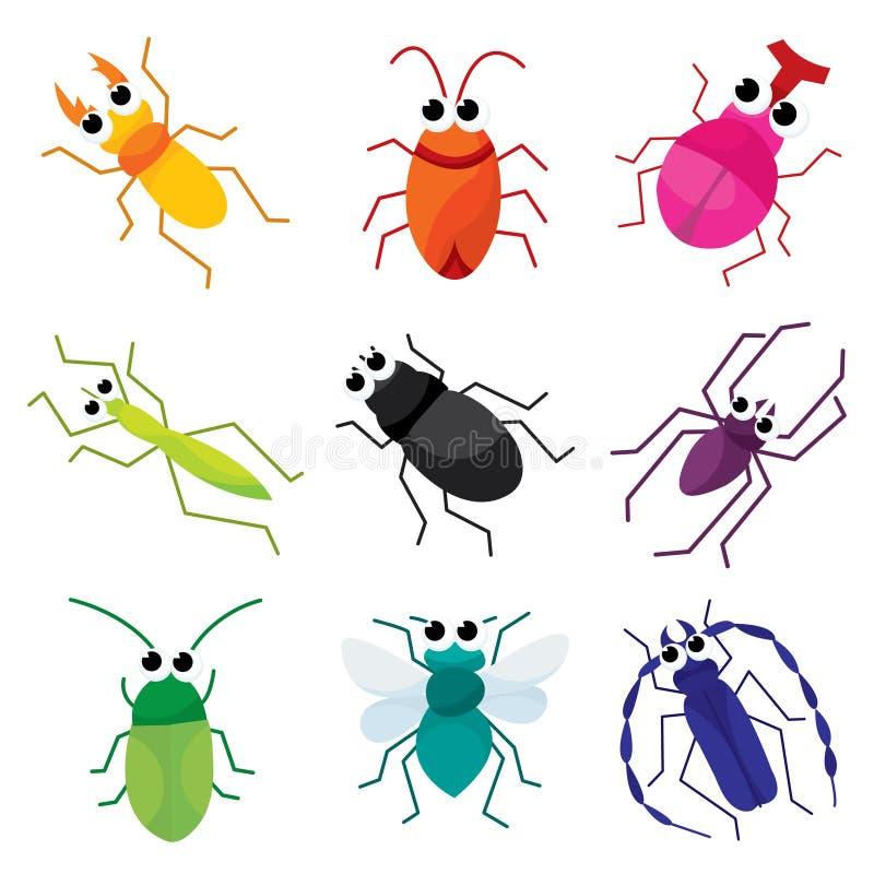 五颜六色的动画片臭虫 皇族释放例证