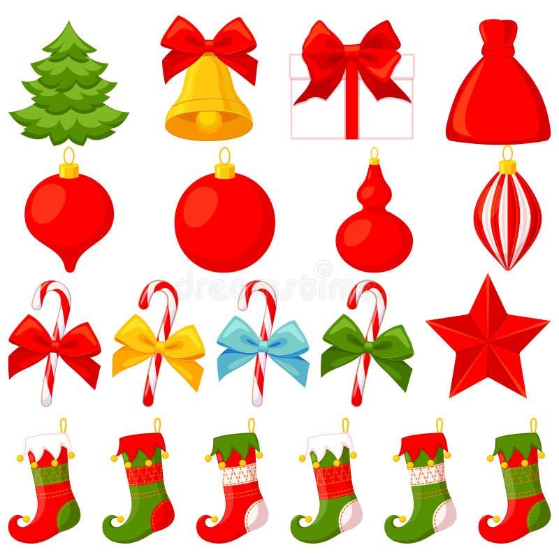 五颜六色的动画片19圣诞节元素集 向量例证