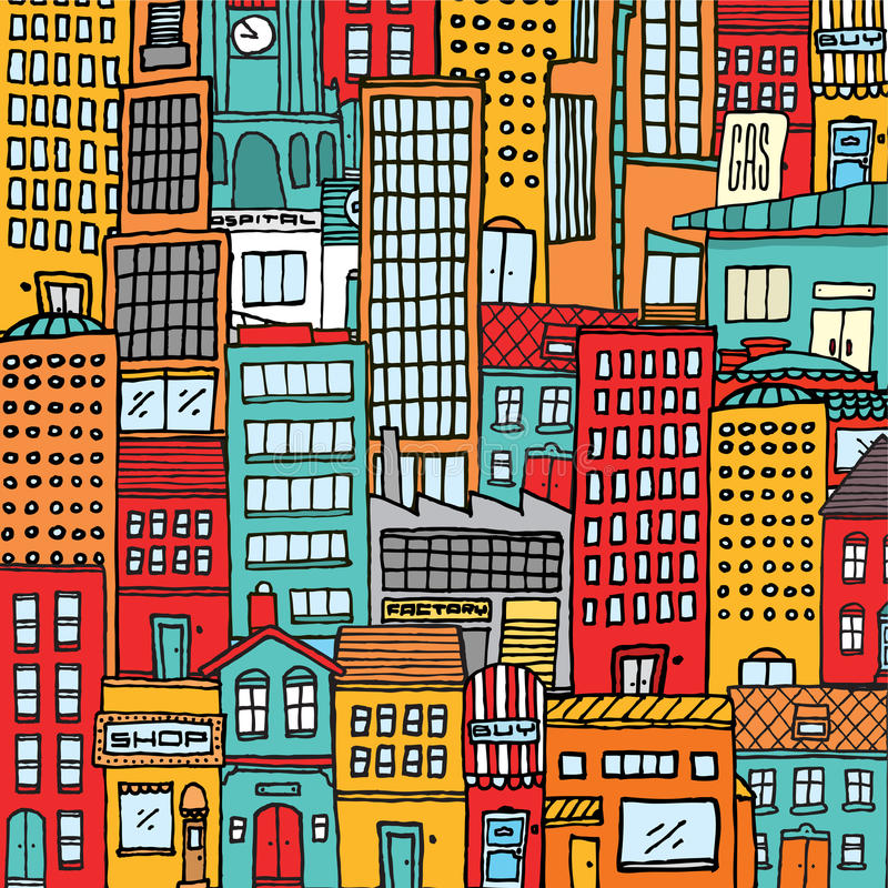 五颜六色的动画片城市纹理背景 向量例证
