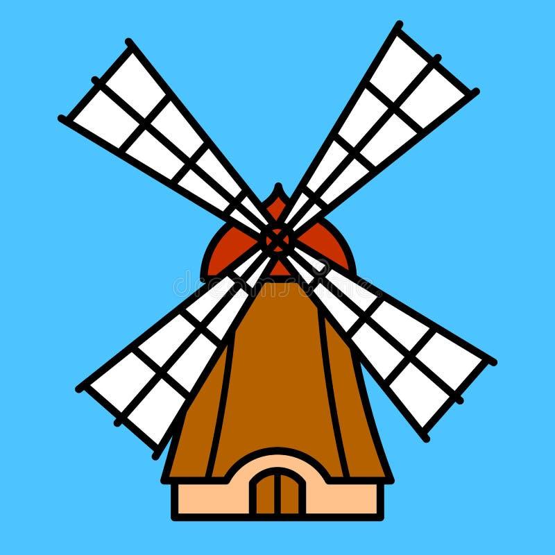 五颜六色的动画片风车 库存例证
