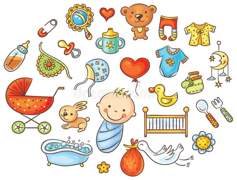 五颜六色的动画片婴孩集合 皇族释放例证