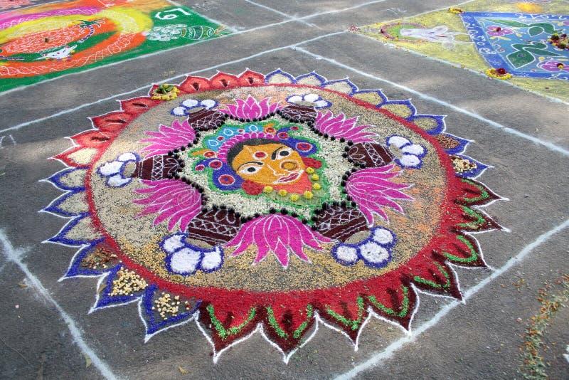 五颜六色的南印地安绘画kolam 库存图片