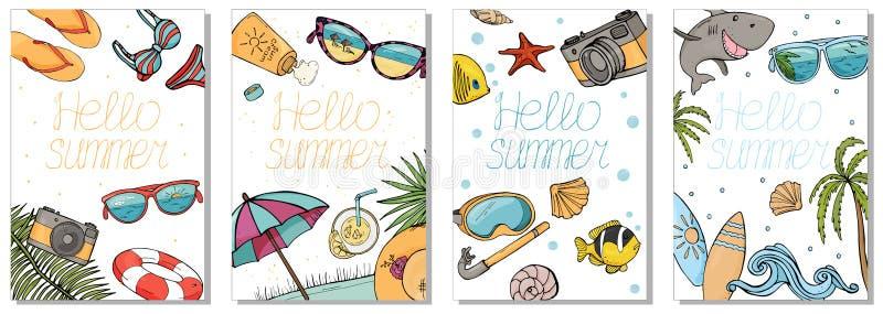 五颜六色的卡片的汇集在夏天题材的 使辅助部件,项目佩戴水肺的潜水的和冲浪靠岸 皇族释放例证