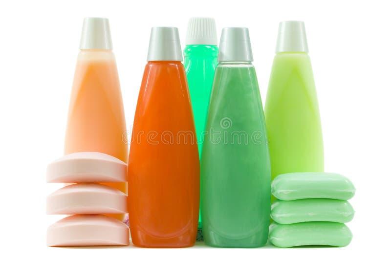 五颜六色的卫生集用品 免版税库存照片