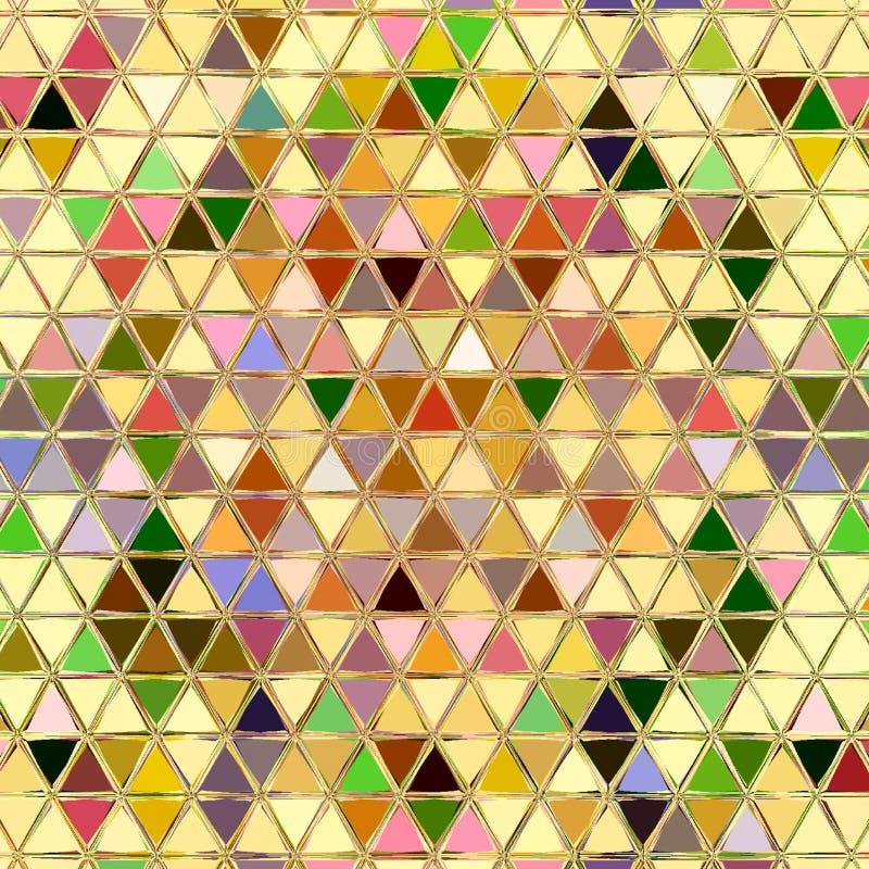 五颜六色的印刷品或墙纸的三角马赛克连续的样式 皇族释放例证