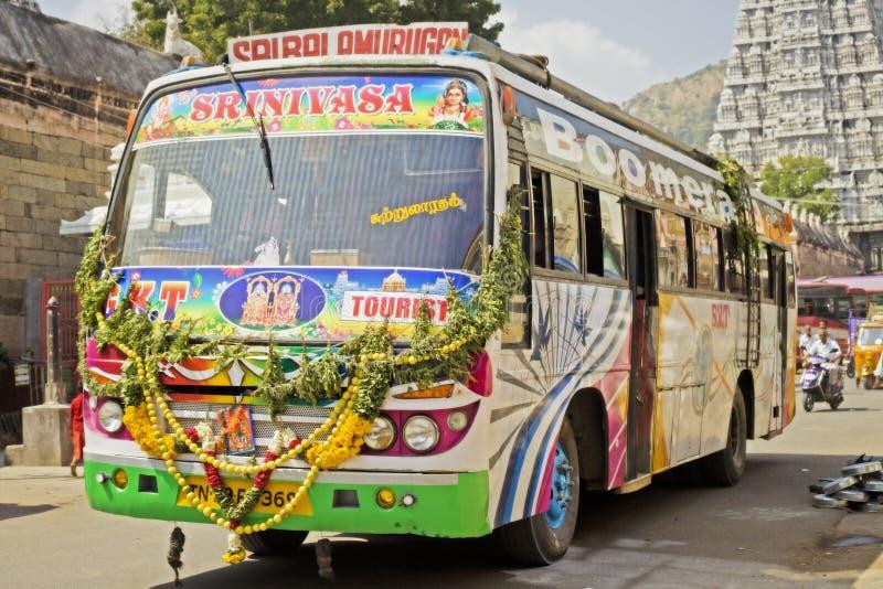 五颜六色的印地安公共汽车 库存照片