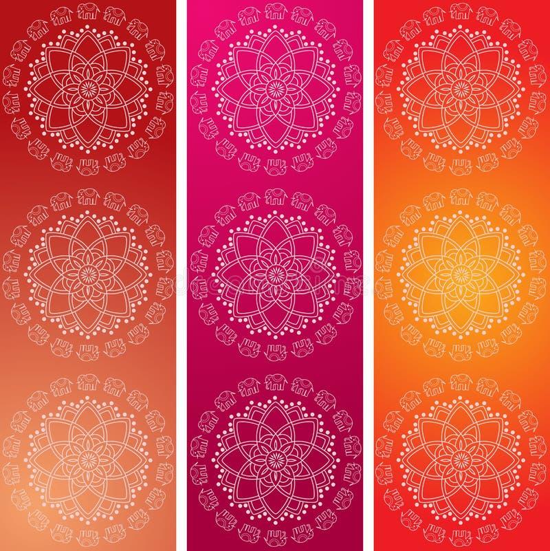 五颜六色的印度象坛场横幅 皇族释放例证