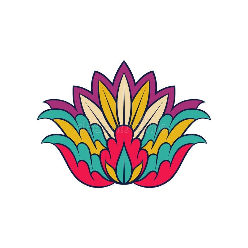 五颜六色的印第安样式 花卉装饰蔓藤花纹 种族装饰品 笔记本盖子或明信片的传染媒介元素 库存例证