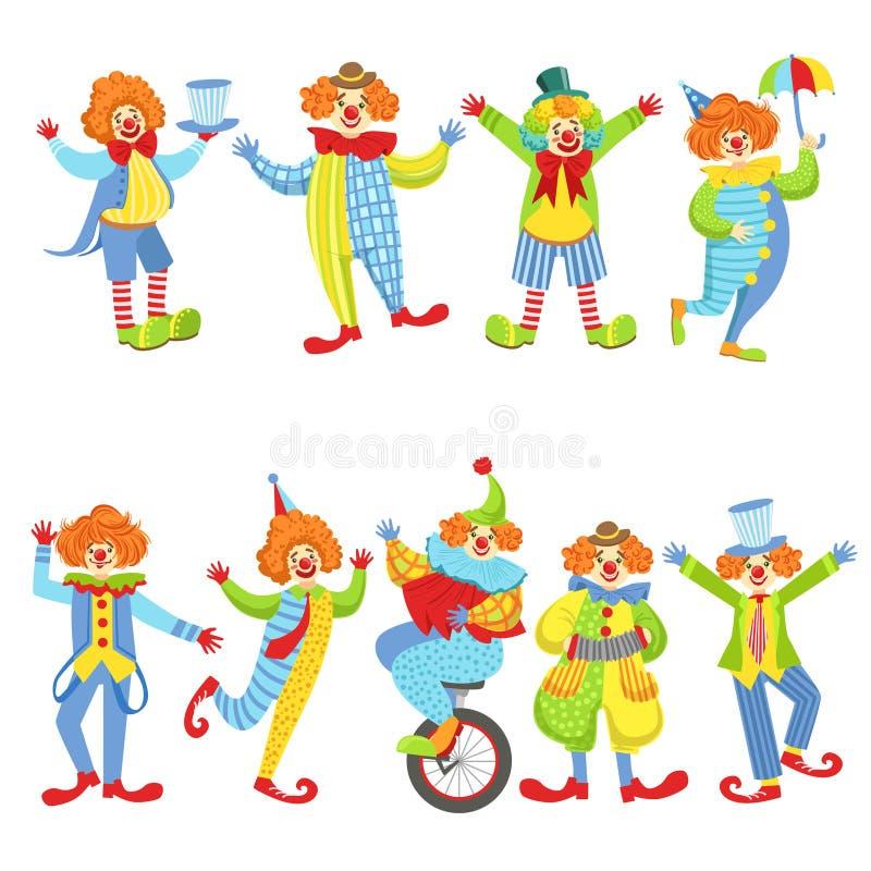 五颜六色的友好的小丑的汇集经典成套装备的 库存例证