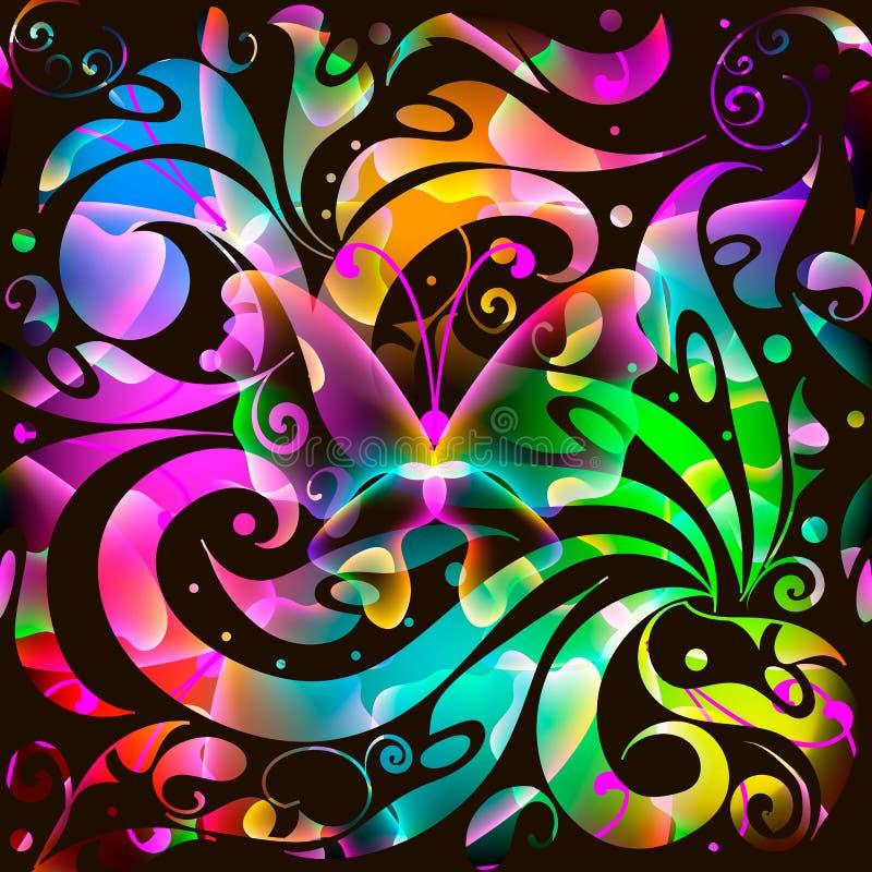 五颜六色的发光的佩兹利传染媒介无缝的样式 明亮的multico 向量例证