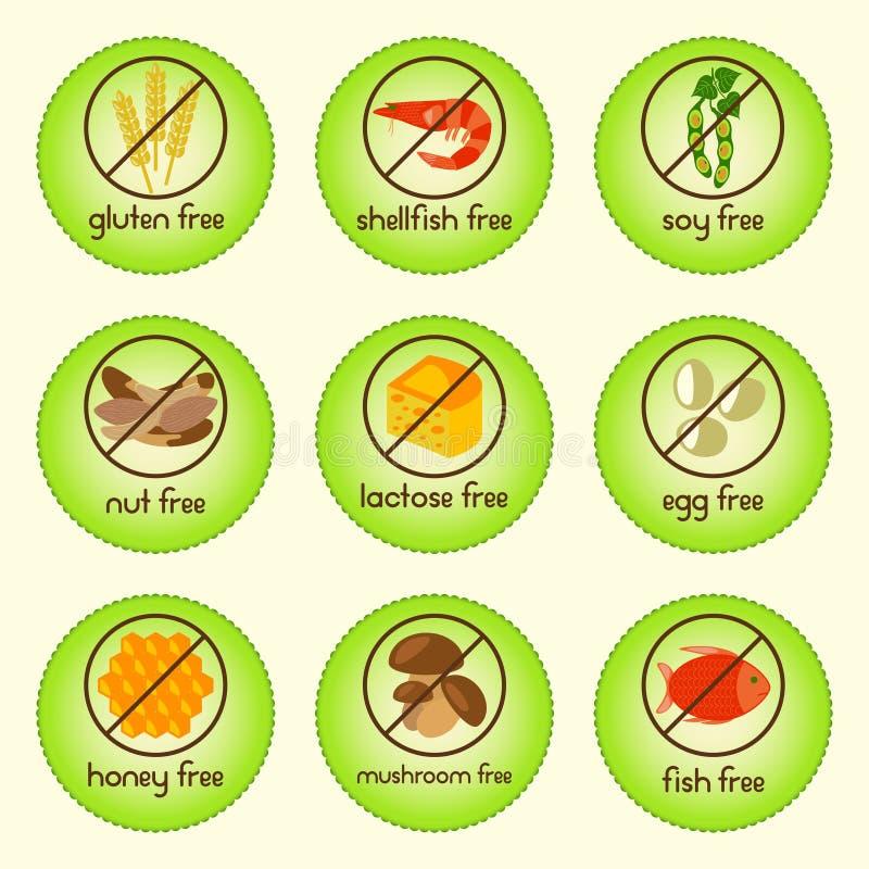 五颜六色的变态反应原食物设置了与面筋自由,免费贝类,免费大豆,自由的坚果,免费乳糖,任意怂恿,免费蜂蜜,任意采蘑菇 库存例证