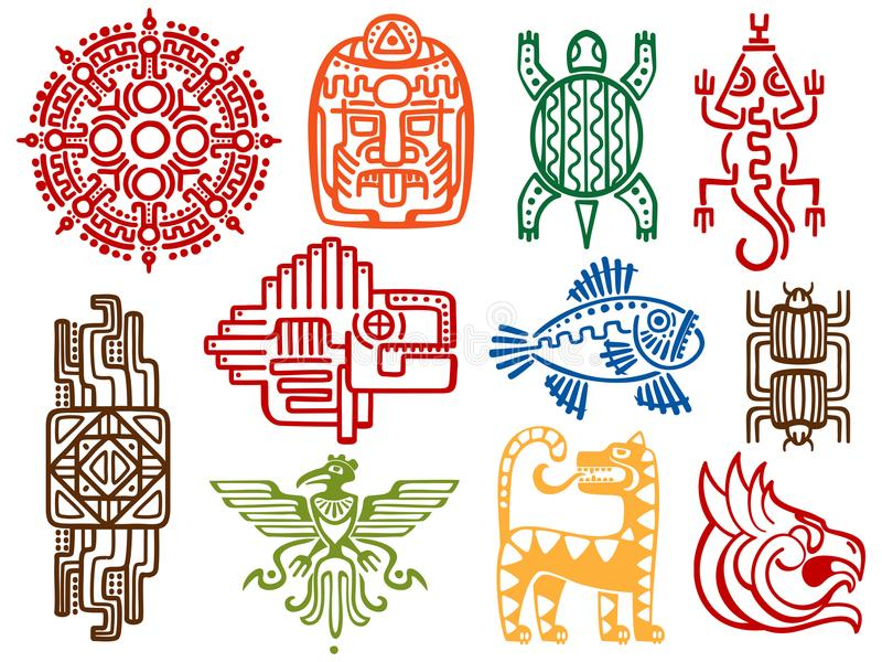 五颜六色的古老墨西哥传染媒介神话标志-美国阿兹台克人,玛雅文化当地人图腾 库存例证