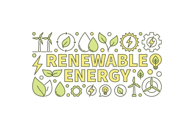 五颜六色的可再造能源横幅 向量例证