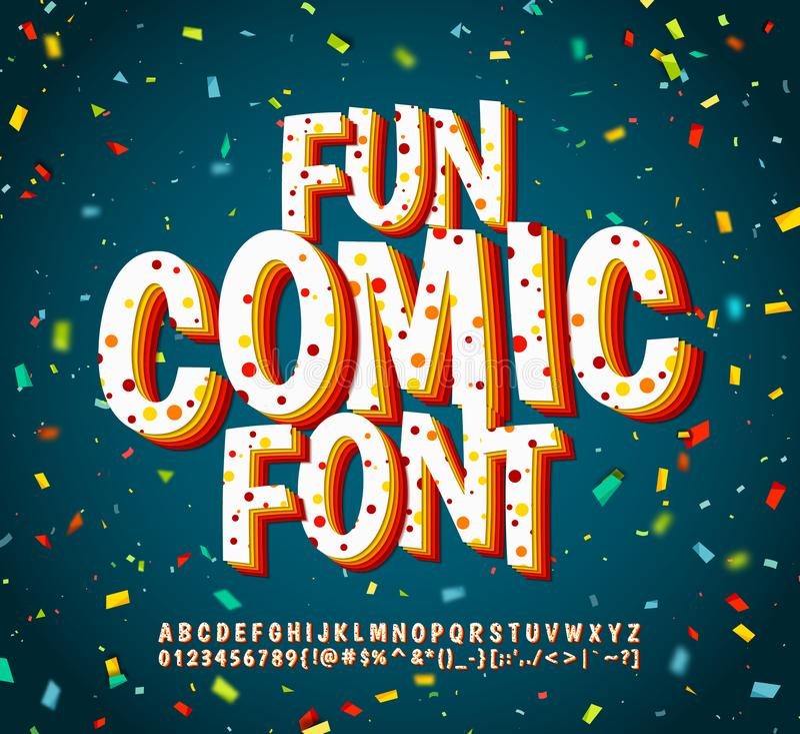 五颜六色的可笑的字体,字母表 漫画预定,流行艺术 库存例证