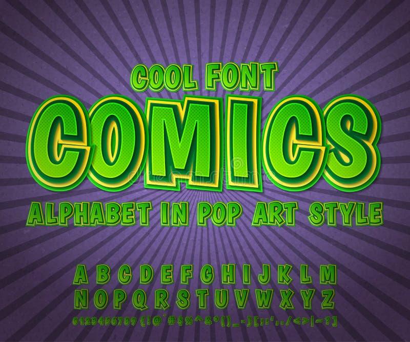 五颜六色的可笑的字体,字母表 漫画书,流行艺术 向量例证