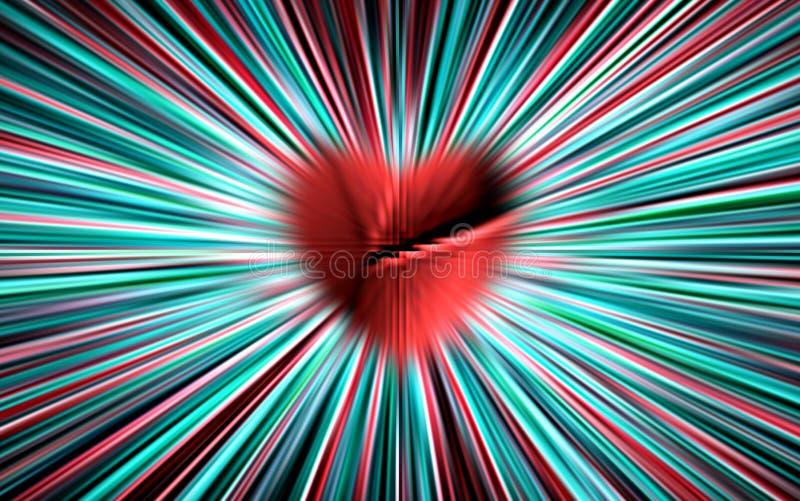 五颜六色的向量 从切好的,被伤的红色心在中部分流颜色条纹对边缘 对情人节 向量例证
