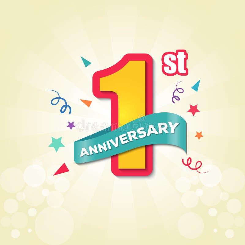 五颜六色的周年象征第1个周年模板设计-传染媒介 皇族释放例证