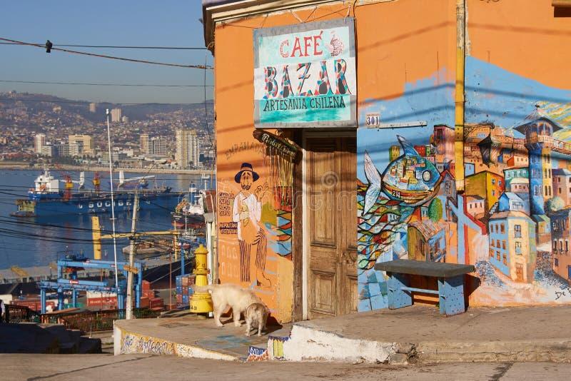 五颜六色的咖啡馆 库存图片