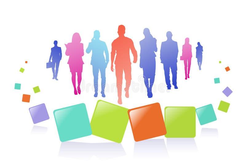 五颜六色的商人剪影,小组变化商人,水平成功的队的概念A4 库存例证
