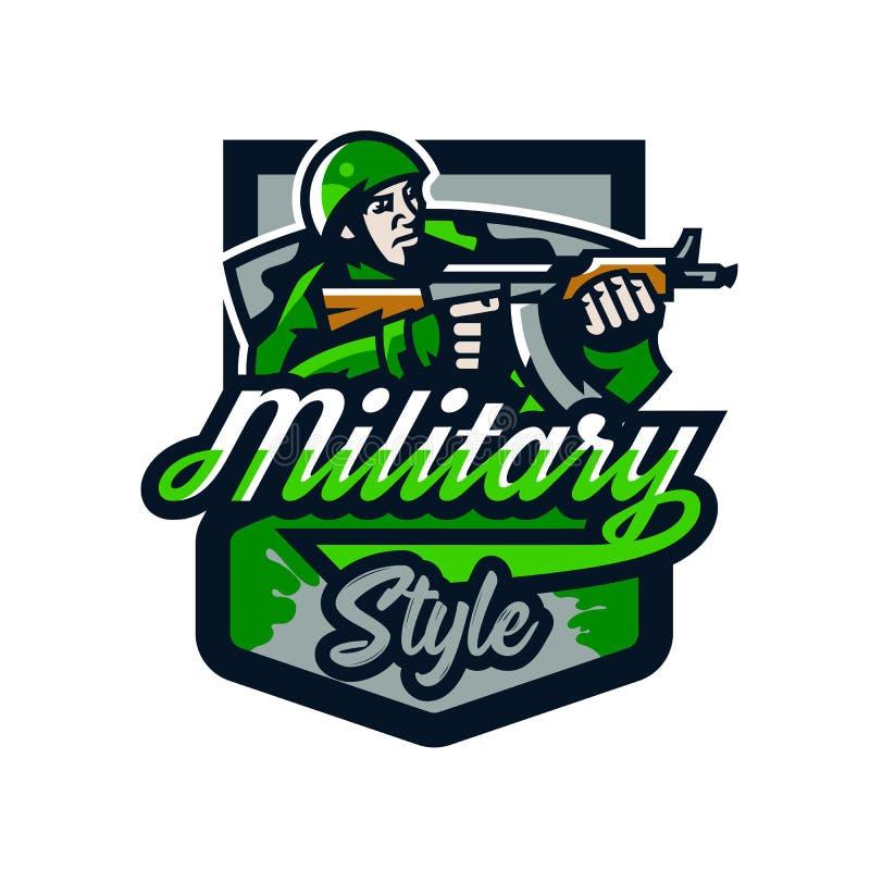 五颜六色的商标,徽章,一次战士射击的象征从冲锋枪的 制服的,盔甲,机枪战士 皇族释放例证