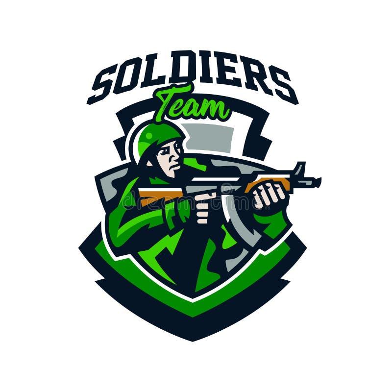五颜六色的商标,徽章,一次战士射击的象征从冲锋枪的 制服的,盔甲,机枪战士 向量例证